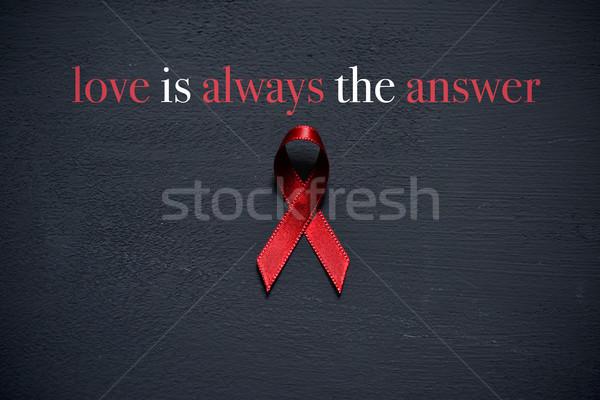 Vörös szalag szöveg szeretet állandóan válasz verekedés Stock fotó © nito