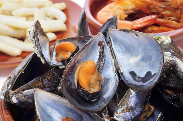 Tengeri hal tapas közelkép spanyol pára párolt Stock fotó © nito