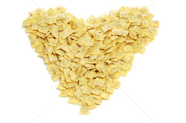 Tortellini szív köteg fehér étel háttér Stock fotó © nito
