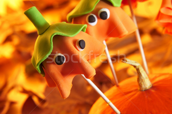cake pops with the shape of ghost Halloween pumpkins Stock photo © nito