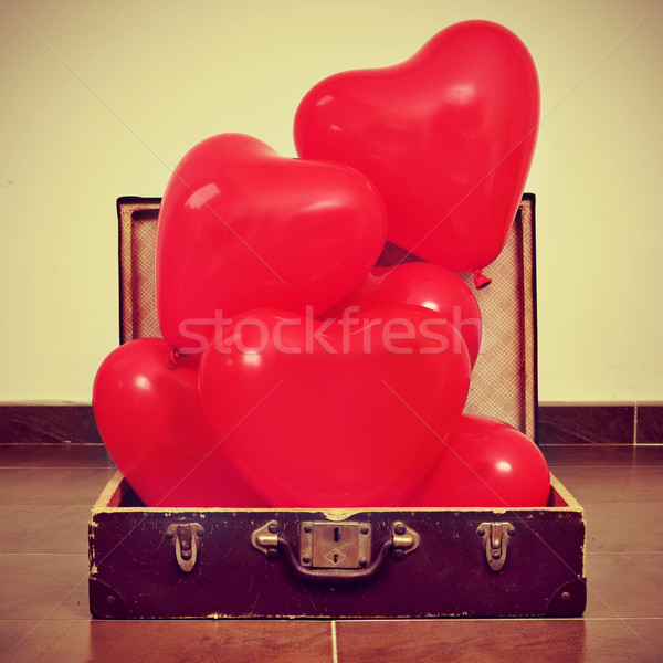 Ballonnen oude koffer Rood retro Stockfoto © nito