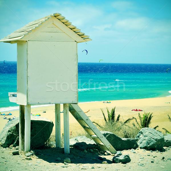 Praia canárias Espanha quadro salva-vidas torre Foto stock © nito