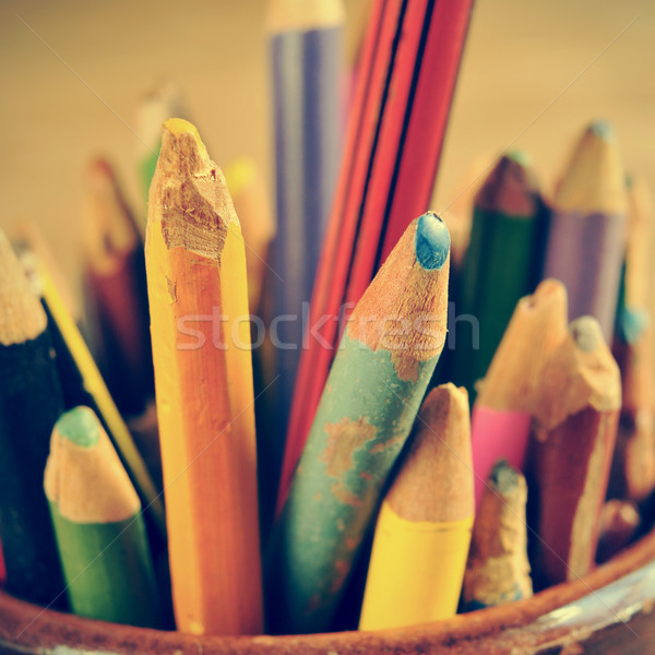 coloured pencils, with a retro effect Stock photo © nito