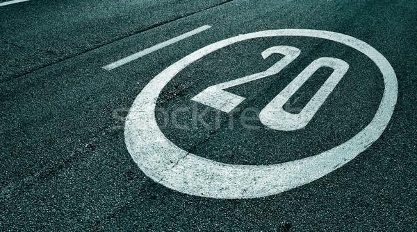 Limite de velocidade assinar pintado estrada preto tráfego Foto stock © nito