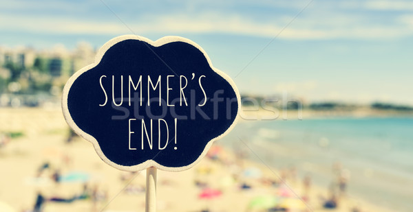 chalkboard with the text summers end in a beach, filtered Stock photo © nito