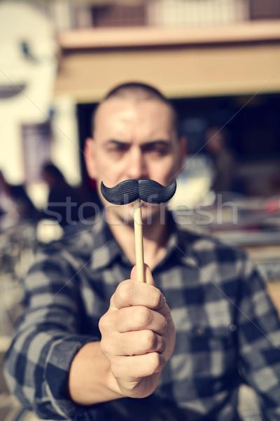 молодым человеком поддельный усы молодые кавказский человека Сток-фото © nito
