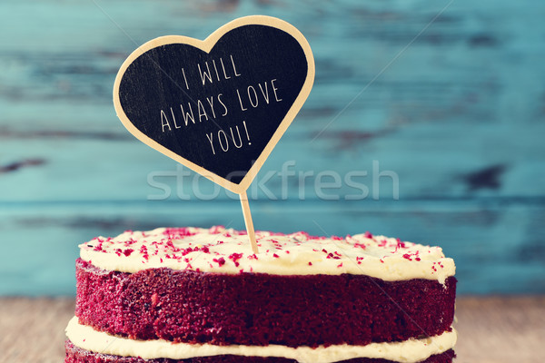 Bolo texto sempre amor vermelho Foto stock © nito