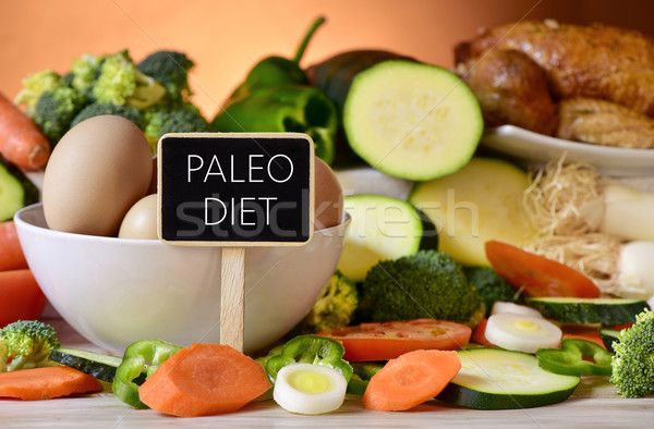 eggs, chicken, vegetables and text paleo diet Stock photo © nito