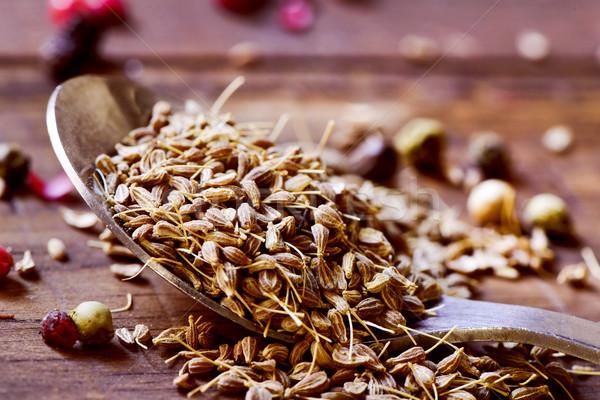 Anyż nasion drewniany stół łyżka pełny Zdjęcia stock © nito