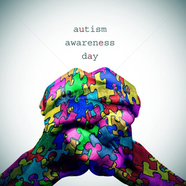 Mãos texto autismo consciência dia homem Foto stock © nito