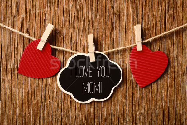 Corações texto amor mamãe escrito quadro-negro Foto stock © nito