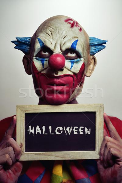 Zło clown Tablica słowo halloween portret Zdjęcia stock © nito