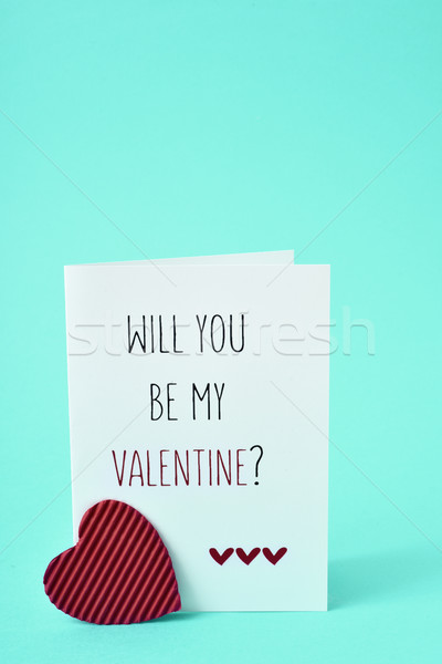 text will you be my valentine in a postcard Stock photo © nito