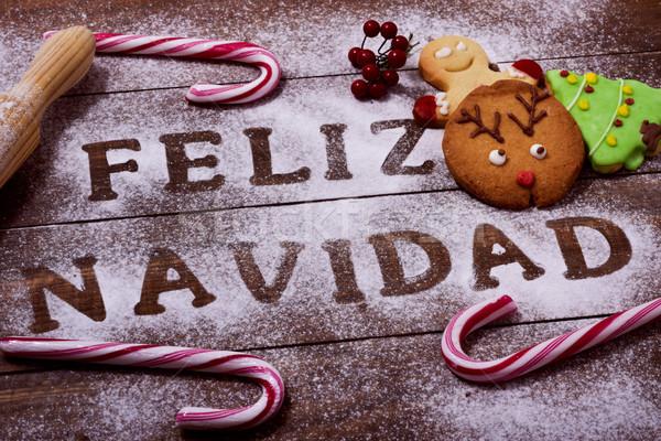 Foto stock: Texto · alegre · Navidad · espanol · tiro · mesa · de · madera