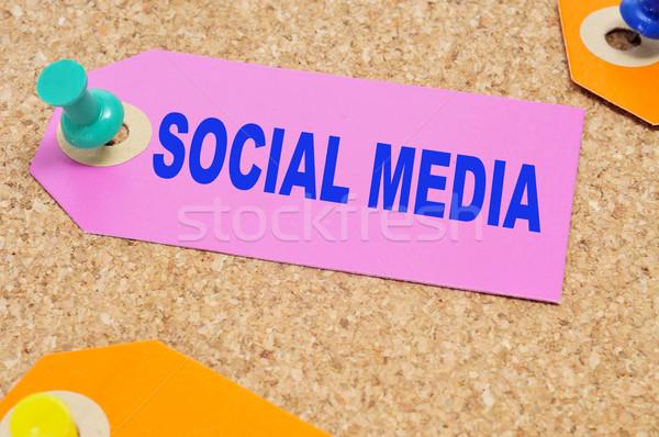 Közösségi média papír címke szavak írott hüvelykujj Stock fotó © nito