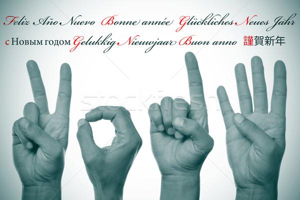 Gelukkig nieuwjaar 2014 geschreven verschillend talen spaans Stockfoto © nito