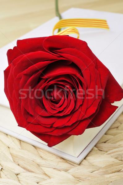 Stock fotó: Piros · rózsa · könyv · szent · nap · Spanyolország · hagyományos
