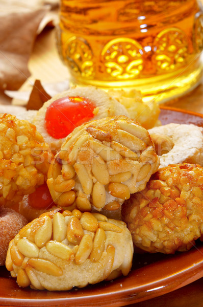 panellets and sweet wine, typical snack in All Saints Day in Cat Stock photo © nito