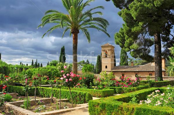 庭園 ラ アルハンブラ宮殿 スペイン 空 旅行 ストックフォト © nito