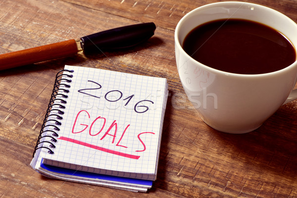 coffee and notepad with the text 2016 goals Stock photo © nito