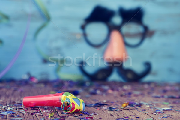 party horns, confetti and fake glasses, nose and mustache Stock photo © nito