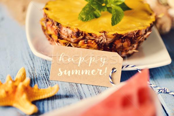 Texto feliz verão starfish ananás melancia Foto stock © nito