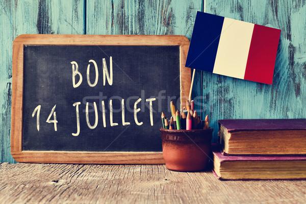Tekst 14 gelukkig frans schoolbord dag Stockfoto © nito