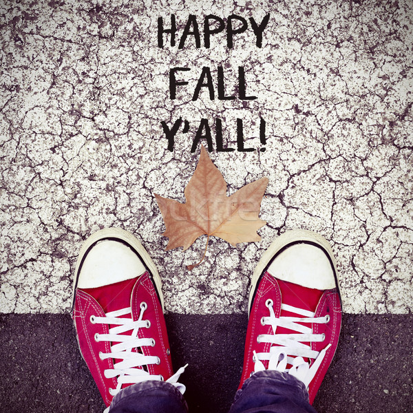 feet, dry leaf and text happy fall yall Stock photo © nito