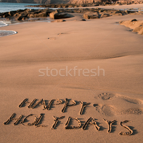 text happy holidays in the sand of a beach Stock photo © nito