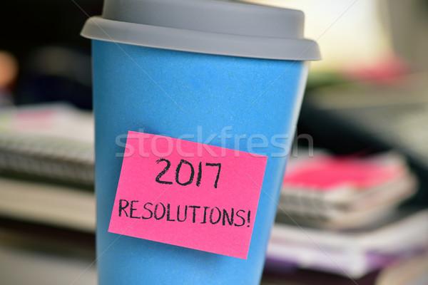 öntapadó jegyzet szöveg csésze közelkép rózsaszín csatolva Stock fotó © nito