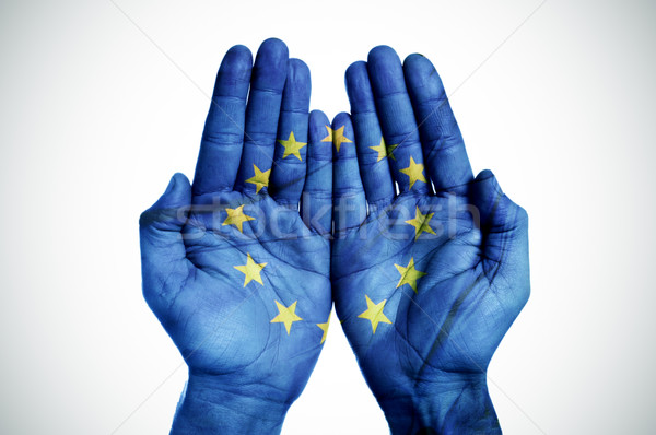 hands patterned with the european flag Stock photo © nito