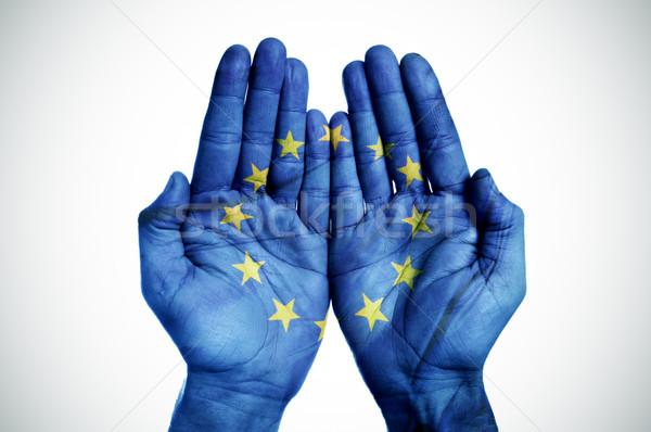 Eller avrupa bayrak avuç içi adam Stok fotoğraf © nito
