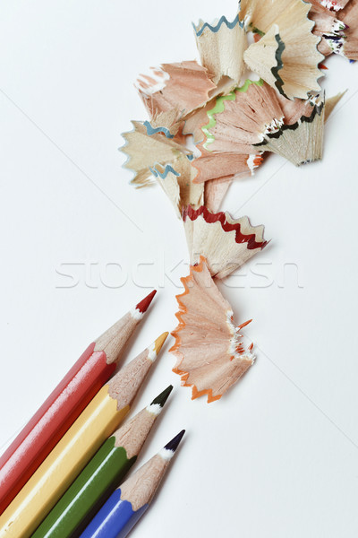 pencil crayons and shavings of different colors Stock photo © nito