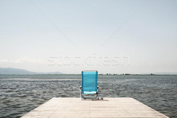 Azul convés cadeira pier Foto stock © nito