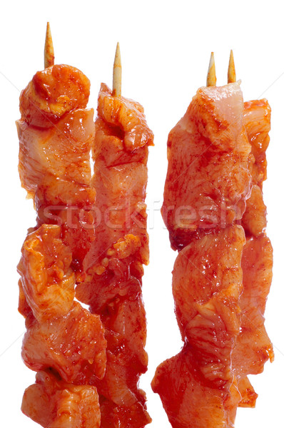 raw spanish pinchos morunos, spiced chicken meat skewers Stock photo © nito