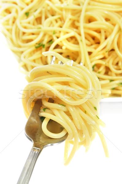 Spaghetti plaat vork voedsel Stockfoto © nito