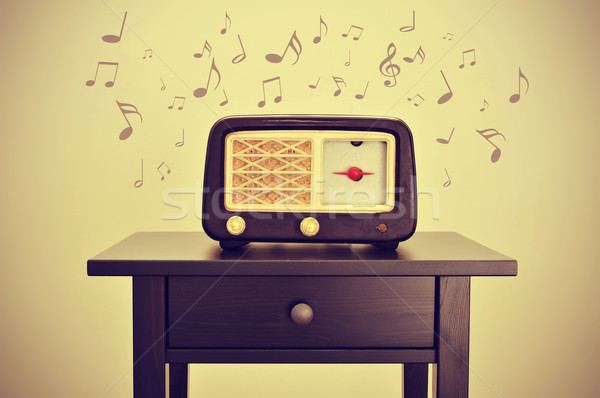 Stock photo: antique radio and musical notes