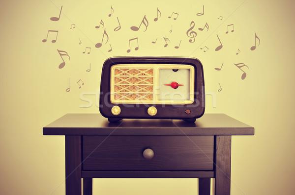 Antiguos radio notas musicales escritorio retro efecto Foto stock © nito