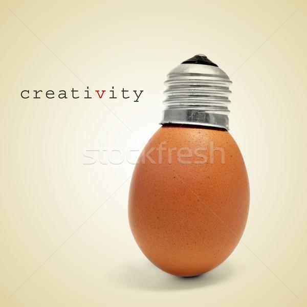 креативность слово яйцо винта Cap подобно Сток-фото © nito