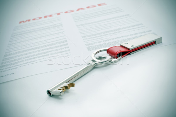 Hypotheek sleutel lening contract business Stockfoto © nito