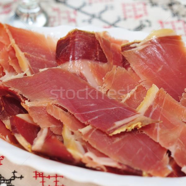 Espagnol serrano jambon plaque alimentaire Photo stock © nito