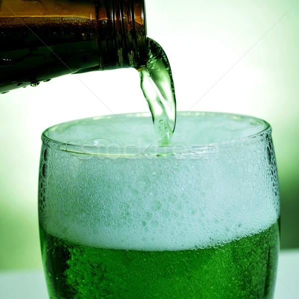 glass with dyed green beer Stock photo © nito