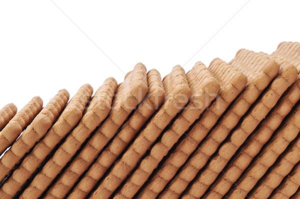 Dikdörtgen biçiminde kurabiye hat beyaz arka plan Stok fotoğraf © nito
