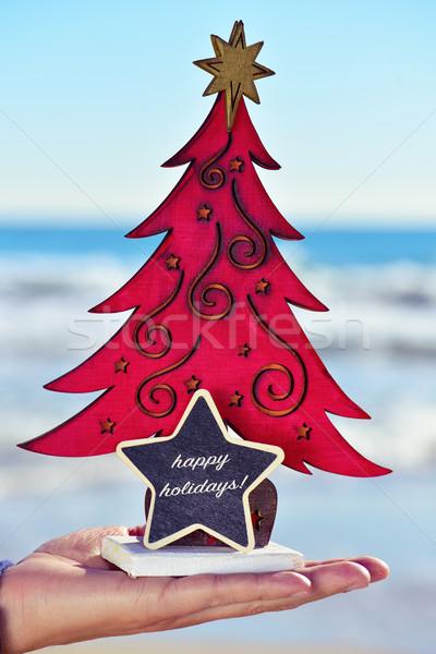 christmas tree and text happy holidays on the beach Stock photo © nito