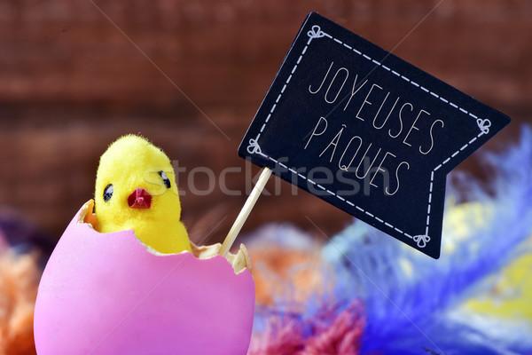 Csirke tojás szöveg boldog közelkép játék Stock fotó © nito