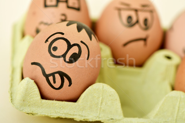brown eggs with funny faces Stock photo © nito