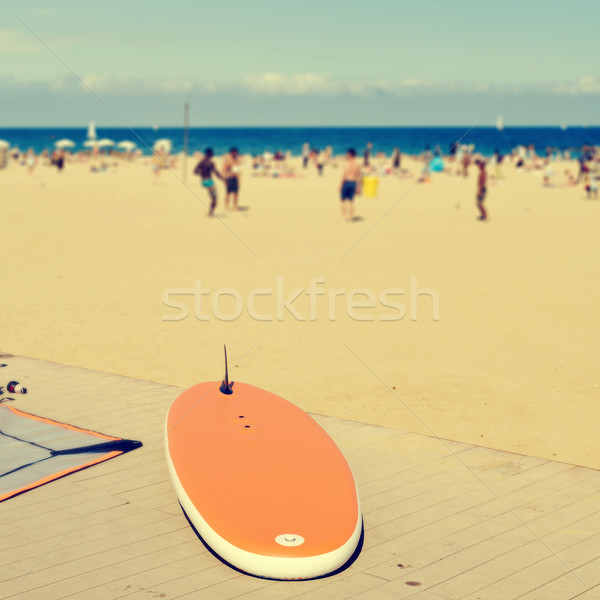 Stock photo: surfboard at La Barceloneta Beach, in Barcelona, Spain