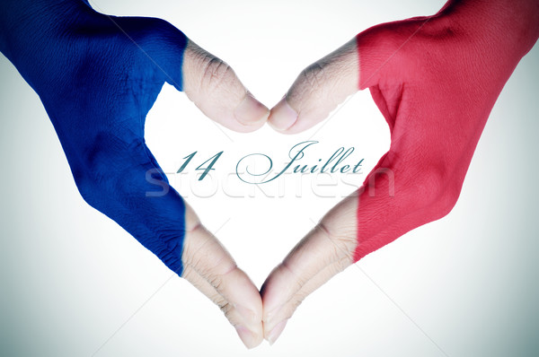 text 14 juillet, 14th of July in French, the National Day of Fra Stock photo © nito