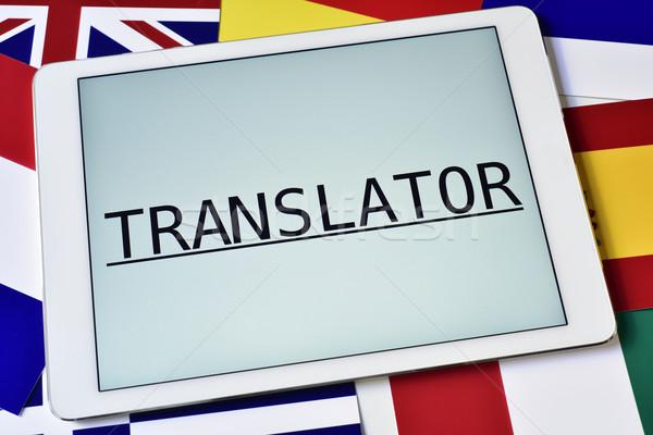 Diferente bandeiras palavra tradutor tela tabela Foto stock © nito