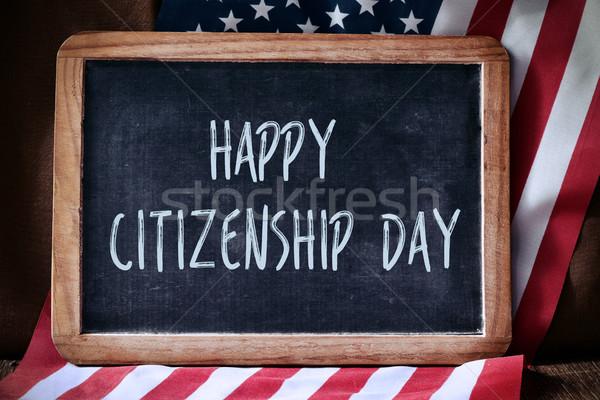 Metin mutlu vatandaşlık gün bayrak ABD Stok fotoğraf © nito